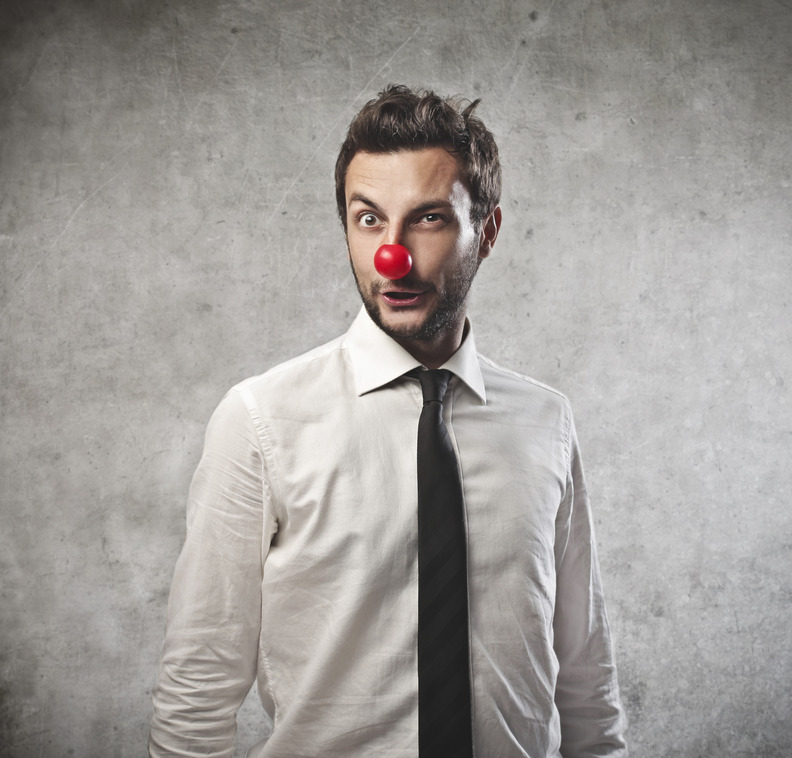 businessman with a clown nose