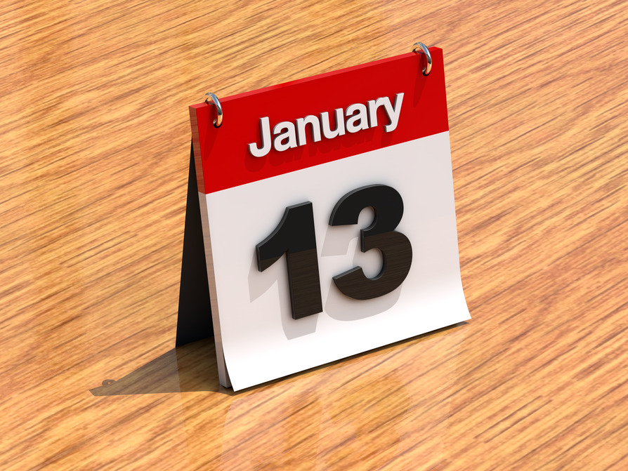 Calendar on desk - January 13th