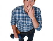 Tradesman looking a bit shocked