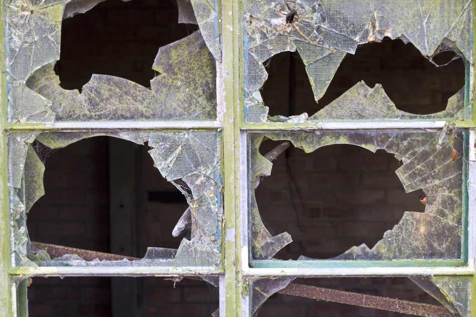 Smashed window panes